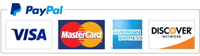 Credit Cards accepted through PayPal include: Amex, Discover, Visa & Mastercard